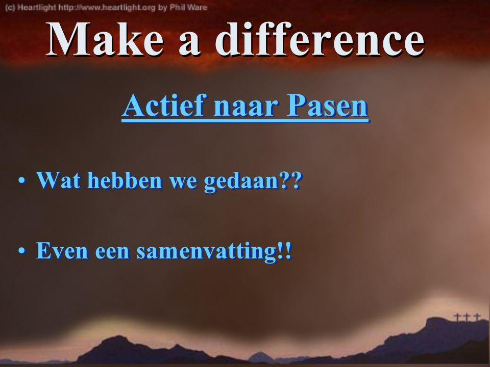 Make a difference Actief naar Pasen Wat hebben we gedaan?? Even een samenvatting!! Actief naar Pasen Wat hebben we gedaan?? Even een samenvatting!!
