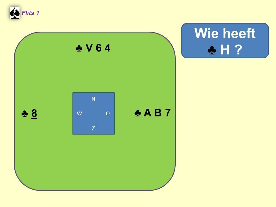♣ V 6 4 Flits 1 ♣ A B 7 Wie heeft ♣ H ? ♣ 8 N W O Z