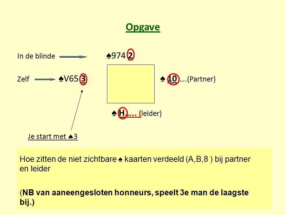 Opgave In de blinde ♠ 974 2 Zelf ♠ V65 3 ♠ 10 ….(Partner) ♠ H….. (leider) Je start met  3 Hoe zitten de niet zichtbare ♠ kaarten verdeeld (A,B,8 ) bi