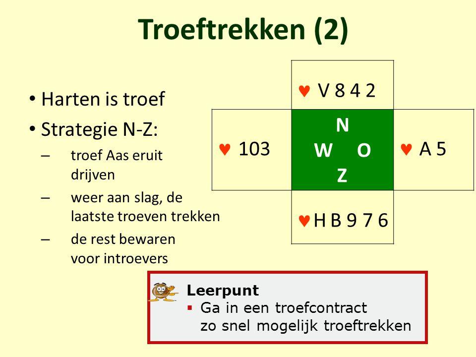 Troeftrekken (2) Harten is troef Strategie N-Z: – troef Aas eruit drijven – weer aan slag, de laatste troeven trekken – de rest bewaren voor introever