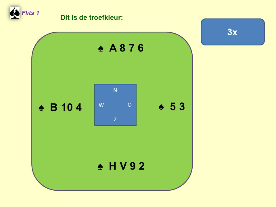 ♠ A 8 7 6 Flits 1 ♠ 5 3 ♠ H V 9 2 ♠ B 10 4 N W O Z 3x Dit is de troefkleur: