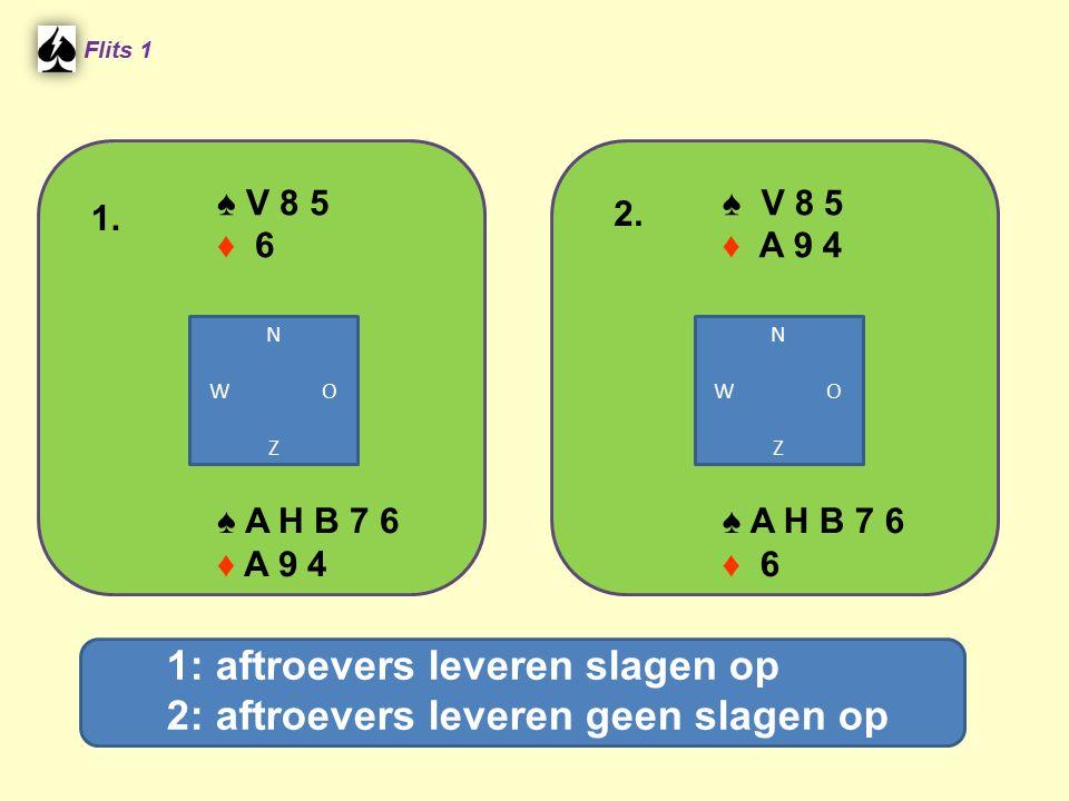 ♠ V 8 5 ♦ 6 Flits 1 ♠ A H B 7 6 ♦ A 9 4 ♠ V 8 5 ♦ A 9 4 ♠ A H B 7 6 ♦ 6 1. 2. N W O Z N W O Z 1: aftroevers leveren slagen op 2: aftroevers leveren ge