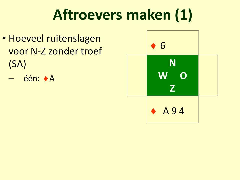 Aftroevers maken (1) Hoeveel ruitenslagen voor N-Z zonder troef (SA) – één:  A 66 N W O Z  A 9 4