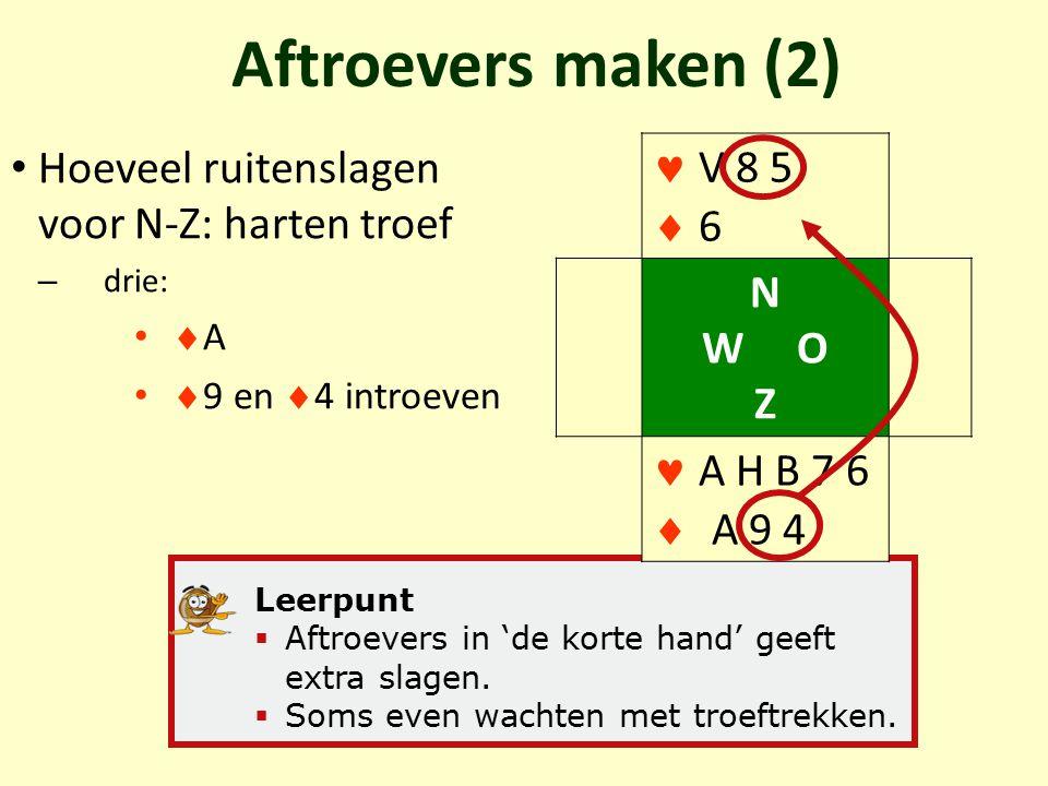 Aftroevers maken (2) Hoeveel ruitenslagen voor N-Z: harten troef – drie:  A  9 en  4 introeven Leerpunt  Aftroevers in 'de korte hand' geeft extra