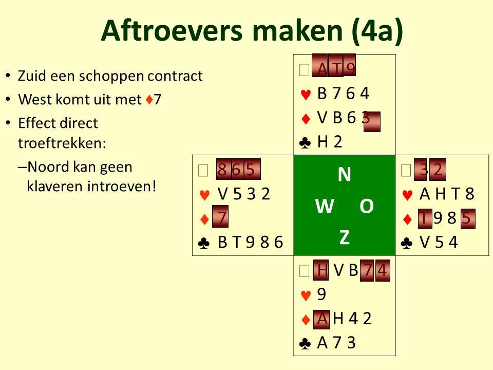 Zuid een schoppen contract West komt uit met ♦ 7 Effect direct troeftrekken: – Noord kan geen klaveren introeven! Aftroevers maken (4a)   ♣ A T 9 B