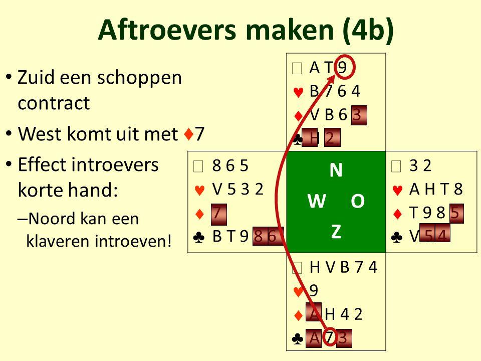 Zuid een schoppen contract West komt uit met ♦ 7 Effect introevers korte hand: – Noord kan een klaveren introeven! Aftroevers maken (4b)   ♣ A T 9 B