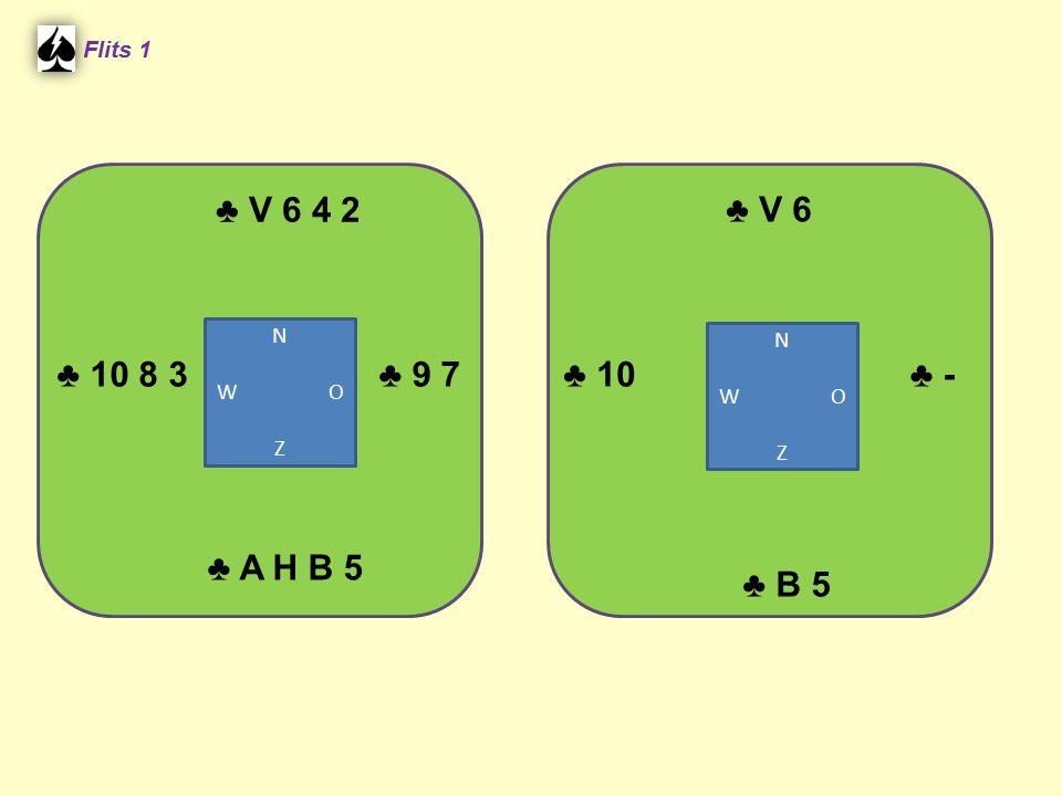 ♣ V 6 4 2 Flits 1 ♣ A H B 5 ♣ V 6 ♣ B 5 ♣ 10 8 3♣ 9 7♣ -♣ 10 N W O Z N W O Z