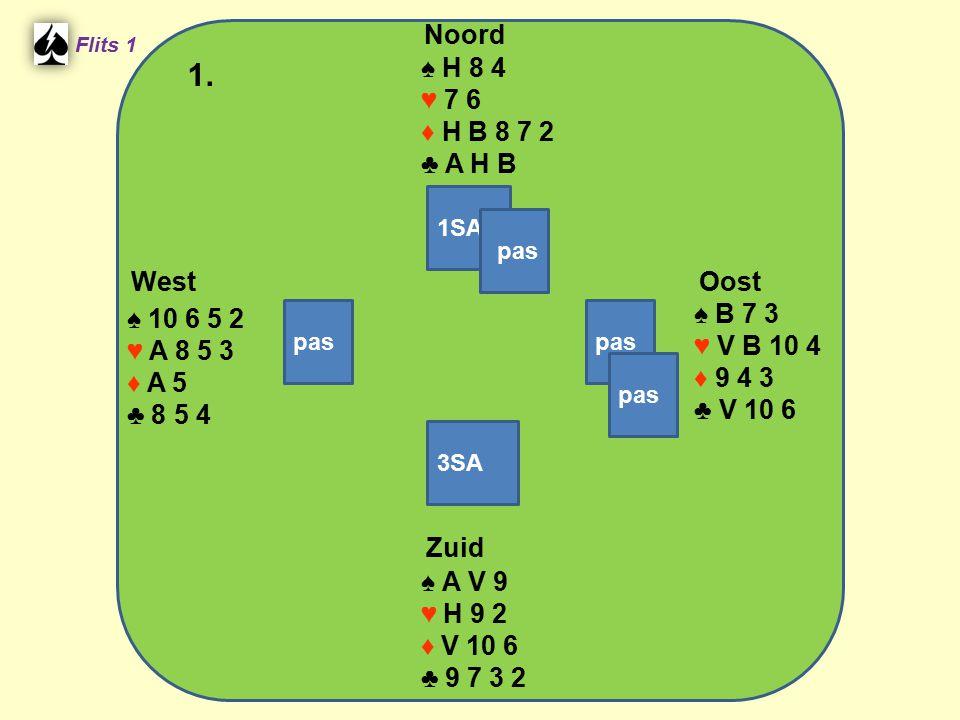 Zuid ♠ A V 9 ♥ H 9 2 ♦ V 10 6 ♣ 9 7 3 2 West ♠ 10 6 5 2 ♥ A 8 5 3 ♦ A 5 ♣ 8 5 4 Noord ♠ H 8 4 ♥ 7 6 ♦ H B 8 7 2 ♣ A H B Oost ♠ B 7 3 ♥ V B 10 4 ♦ 9 4