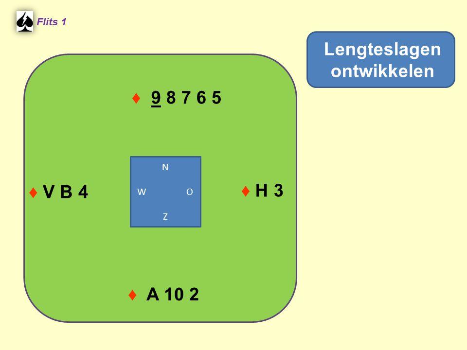 ♦ 9 8 7 6 5 Flits 1 ♦ H 3 ♦ A 10 2 Lengteslagen ontwikkelen ♦ V B 4 N W O Z