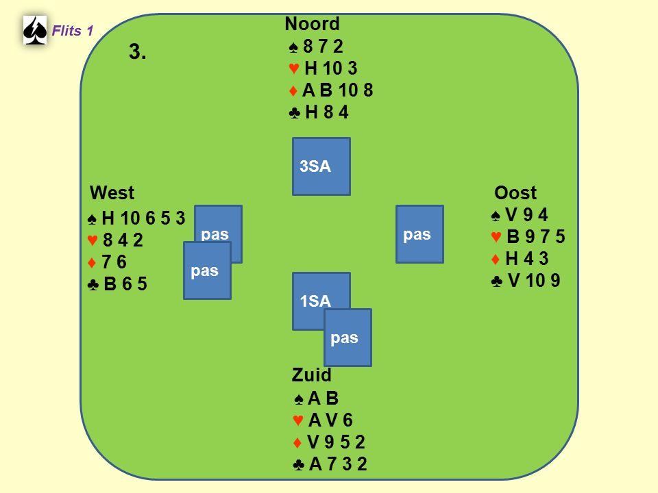 Zuid ♠ A B ♥ A V 6 ♦ V 9 5 2 ♣ A 7 3 2 West ♠ H 10 6 5 3 ♥ 8 4 2 ♦ 7 6 ♣ B 6 5 Noord ♠ 8 7 2 ♥ H 10 3 ♦ A B 10 8 ♣ H 8 4 Oost ♠ V 9 4 ♥ B 9 7 5 ♦ H 4