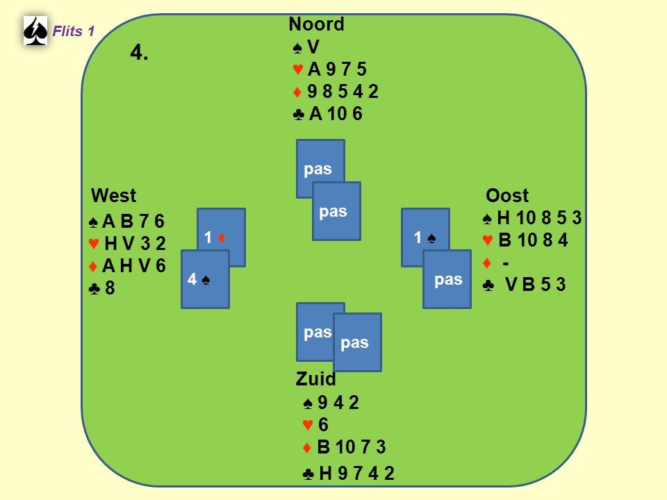 Zuid ♠ 9 4 2 ♥ 6 ♦ B 10 7 3 ♣ H 9 7 4 2 West ♠ A B 7 6 ♥ H V 3 2 ♦ A H V 6 ♣ 8 Noord ♠ V ♥ A 9 7 5 ♦ 9 8 5 4 2 ♣ A 10 6 Oost ♠ H 10 8 5 3 ♥ B 10 8 4 ♦