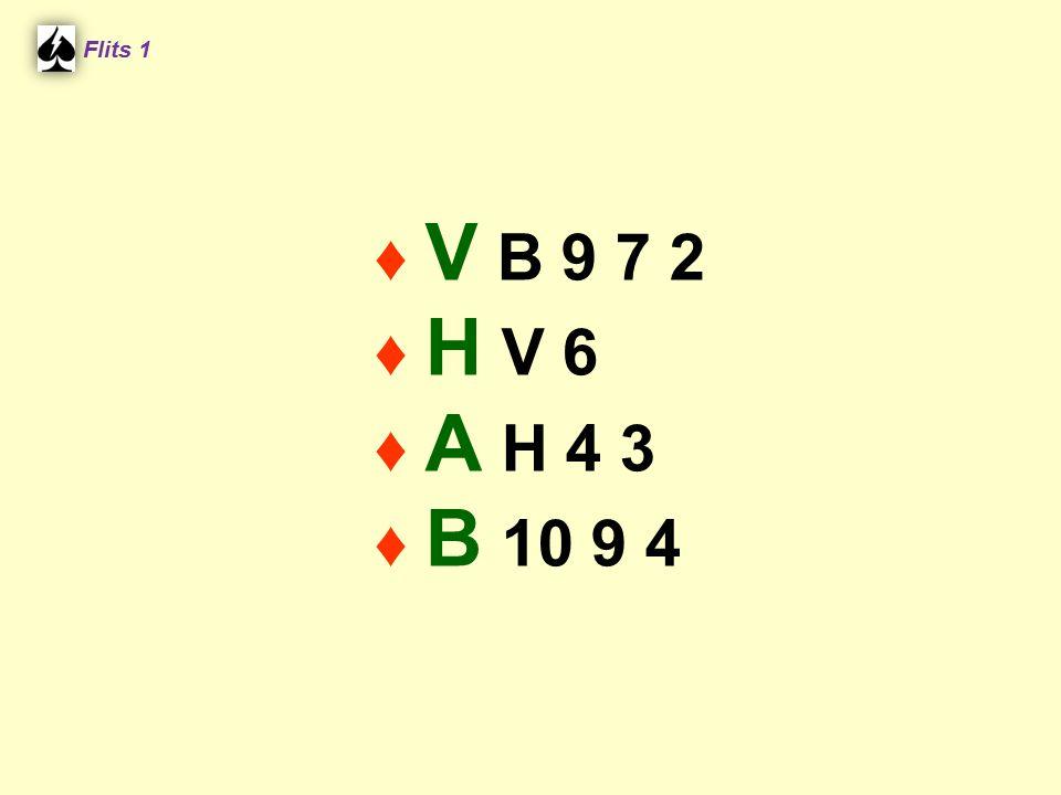 Noord ♠ A B 4 ♥ A 7 6 ♦ A H 8 2 ♣ Flits 1 Zuid ♠ 10 8 7 ♥ 3 ♦ 6 5 2 ♣ B 10 7 Contract 3SA Uitkomst ♥ V ♥ V 4 H3 H V2