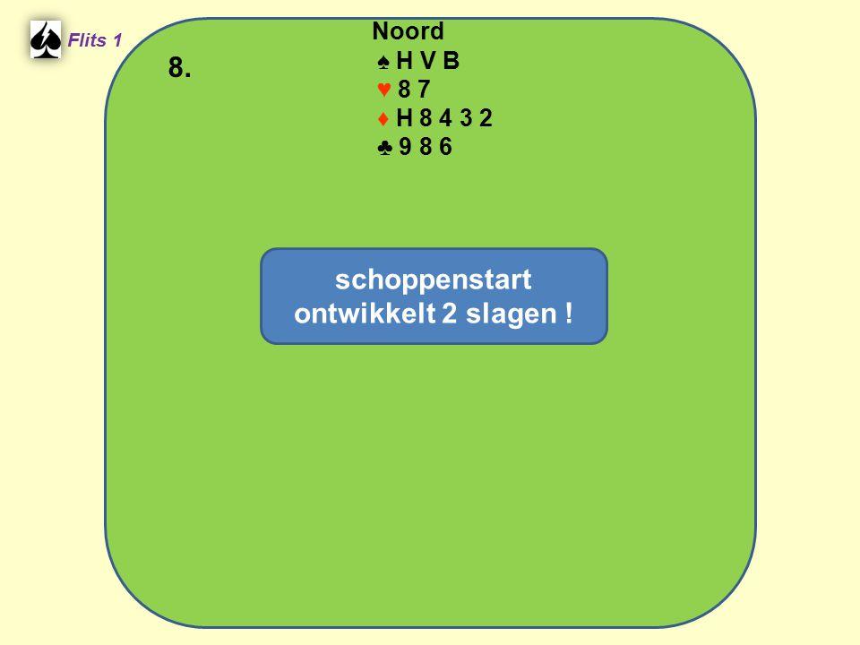 Noord ♠ H V B ♥ 8 7 ♦ H 8 4 3 2 ♣ 9 8 6 8. Flits 1 schoppenstart ontwikkelt 2 slagen !