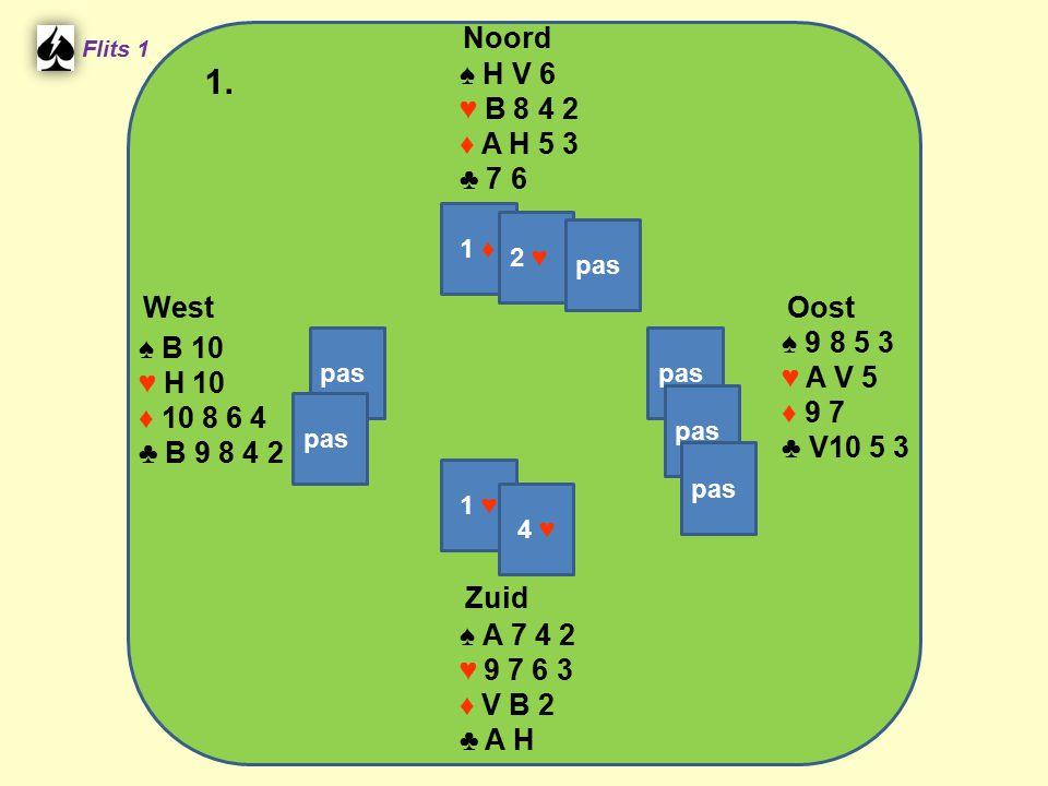 Zuid ♠ A 7 4 2 ♥ 9 7 6 3 ♦ V B 2 ♣ A H West ♠ B 10 ♥ H 10 ♦ 10 8 6 4 ♣ B 9 8 4 2 Noord ♠ H V 6 ♥ B 8 4 2 ♦ A H 5 3 ♣ 7 6 Oost ♠ 9 8 5 3 ♥ A V 5 ♦ 9 7
