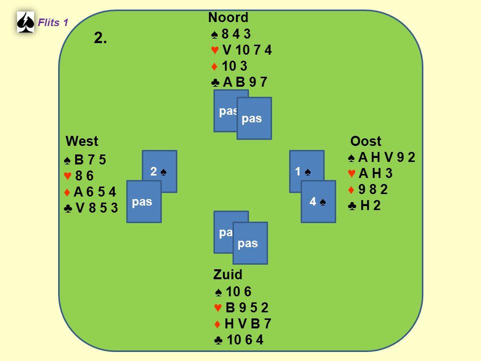 Zuid ♠ 10 6 ♥ B 9 5 2 ♦ H V B 7 ♣ 10 6 4 West ♠ B 7 5 ♥ 8 6 ♦ A 6 5 4 ♣ V 8 5 3 Noord ♠ 8 4 3 ♥ V 10 7 4 ♦ 10 3 ♣ A B 9 7 Oost ♠ A H V 9 2 ♥ A H 3 ♦ 9