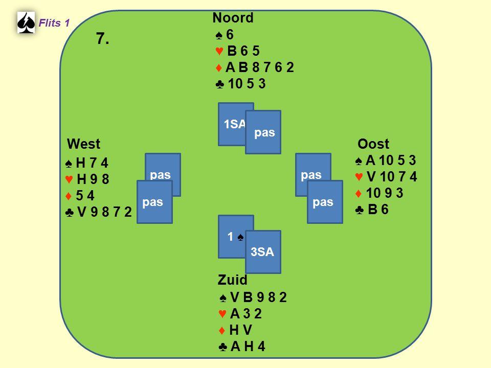 Zuid ♠ V B 9 8 2 ♥ A 3 2 ♦ H V ♣ A H 4 West ♠ H 7 4 ♥ H 9 8 ♦ 5 4 ♣ V 9 8 7 2 Noord ♠ 6 ♥ B 6 5 ♦ A B 8 7 6 2 ♣ 10 5 3 Oost ♠ A 10 5 3 ♥ V 10 7 4 ♦ 10