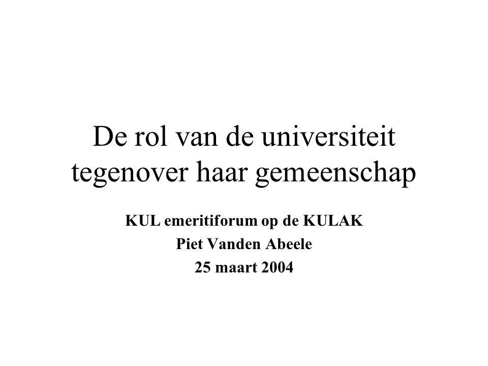 De rol van de universiteit tegenover haar gemeenschap KUL emeritiforum op de KULAK Piet Vanden Abeele 25 maart 2004