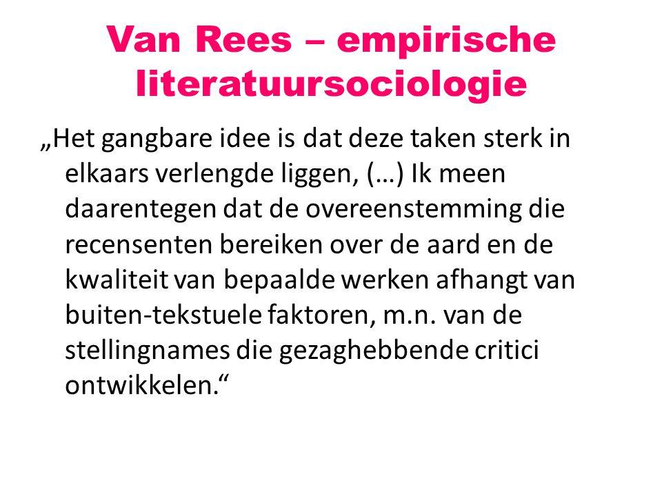 "Van Rees – empirische literatuursociologie ""Het gangbare idee is dat deze taken sterk in elkaars verlengde liggen, (…) Ik meen daarentegen dat de over"