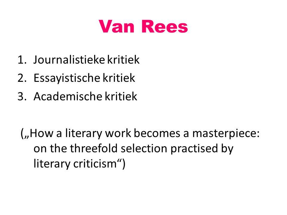 "Van Rees 1.Journalistieke kritiek 2.Essayistische kritiek 3.Academische kritiek (""How a literary work becomes a masterpiece: on the threefold selectio"
