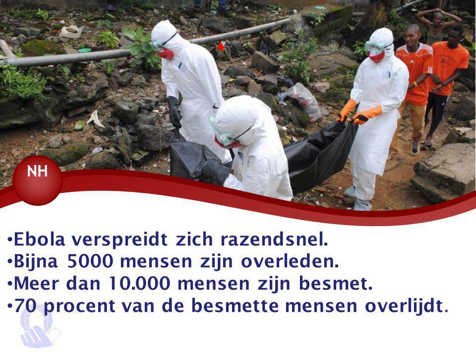 Ebola verspreidt zich razendsnel. Bijna 5000 mensen zijn overleden. Meer dan 10.000 mensen zijn besmet. 70 procent van de besmette mensen overlijdt. 