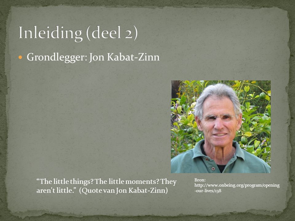 Grondlegger: Jon Kabat-Zinn The little things. The little moments.