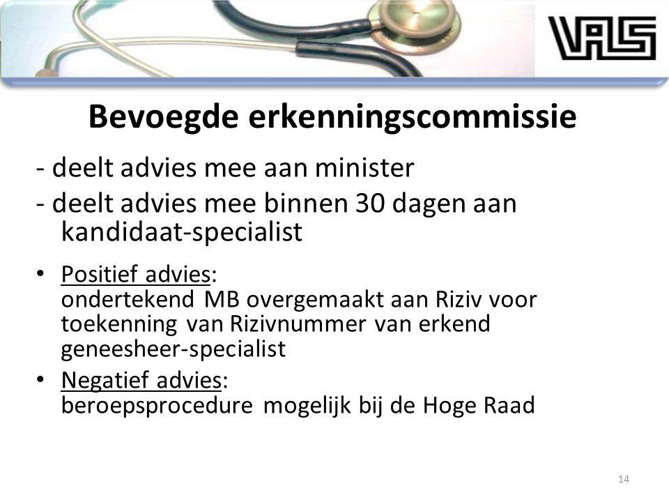 Bevoegde erkenningscommissie - deelt advies mee aan minister - deelt advies mee binnen 30 dagen aan kandidaat-specialist Positief advies: ondertekend