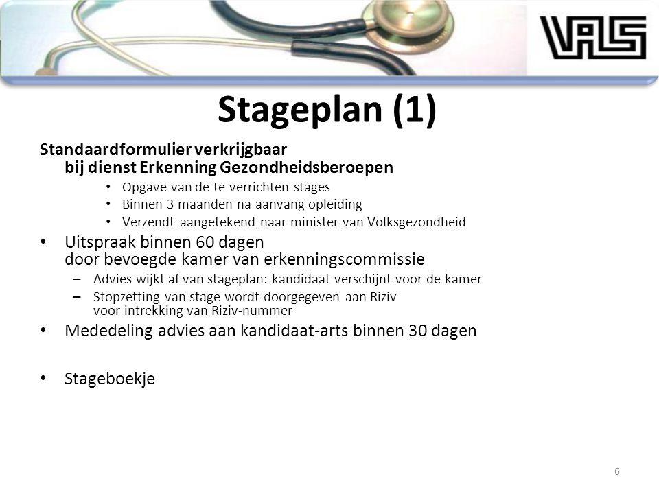 Stageplan (1) Standaardformulier verkrijgbaar bij dienst Erkenning Gezondheidsberoepen Opgave van de te verrichten stages Binnen 3 maanden na aanvang