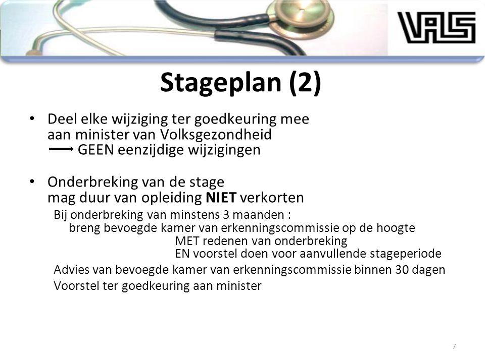 Stageplan (2) Deel elke wijziging ter goedkeuring mee aan minister van Volksgezondheid GEEN eenzijdige wijzigingen Onderbreking van de stage mag duur