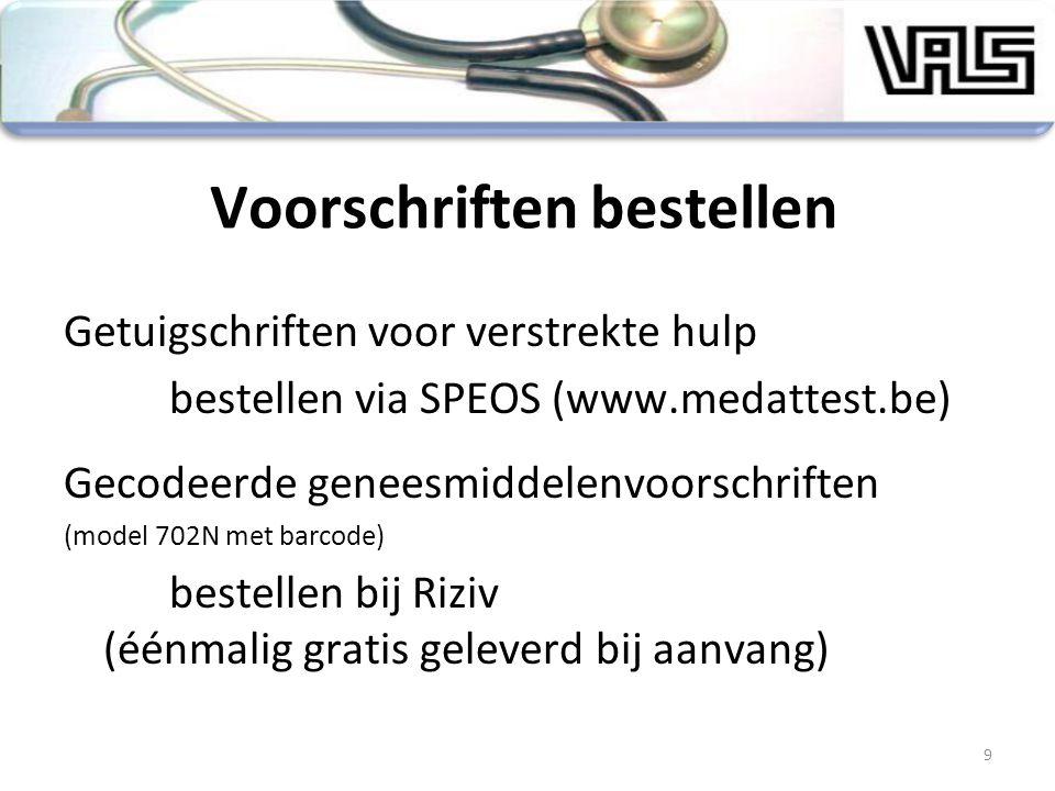 Voorschriften bestellen Getuigschriften voor verstrekte hulp bestellen via SPEOS (www.medattest.be) Gecodeerde geneesmiddelenvoorschriften (model 702N