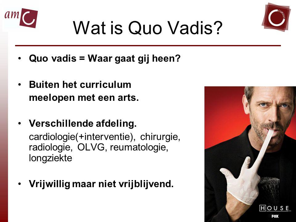 Wat is Quo Vadis.Quo vadis = Waar gaat gij heen. Buiten het curriculum meelopen met een arts.