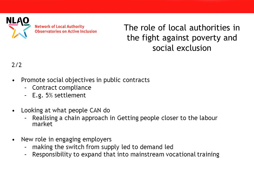 2/2 Promote social objectives in public contracts –Contract compliance –E.g.