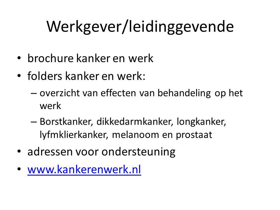 Werkgever/leidinggevende brochure kanker en werk folders kanker en werk: – overzicht van effecten van behandeling op het werk – Borstkanker, dikkedarm