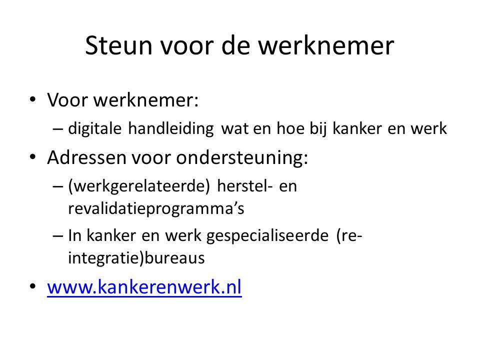 Steun voor de werknemer Voor werknemer: – digitale handleiding wat en hoe bij kanker en werk Adressen voor ondersteuning: – (werkgerelateerde) herstel