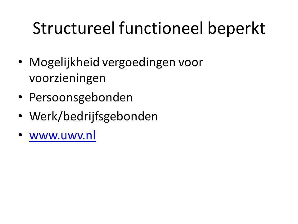 Structureel functioneel beperkt Mogelijkheid vergoedingen voor voorzieningen Persoonsgebonden Werk/bedrijfsgebonden www.uwv.nl