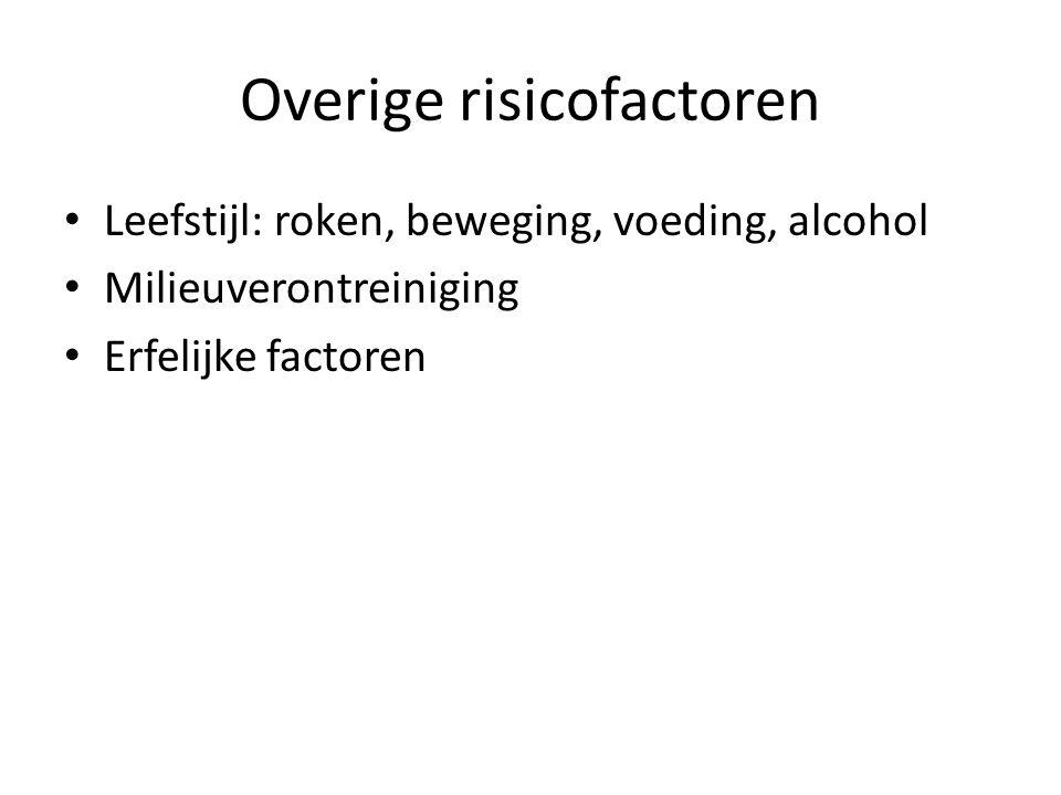 Overige risicofactoren Leefstijl: roken, beweging, voeding, alcohol Milieuverontreiniging Erfelijke factoren