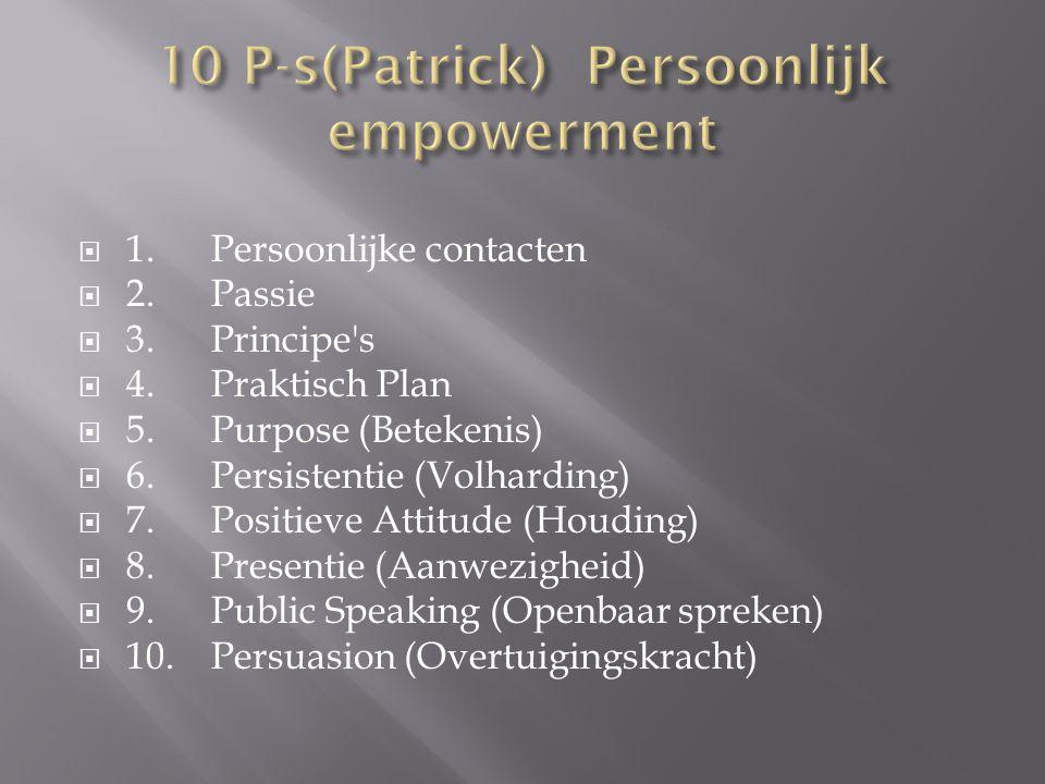  1. Persoonlijke contacten  2. Passie  3. Principe s  4.