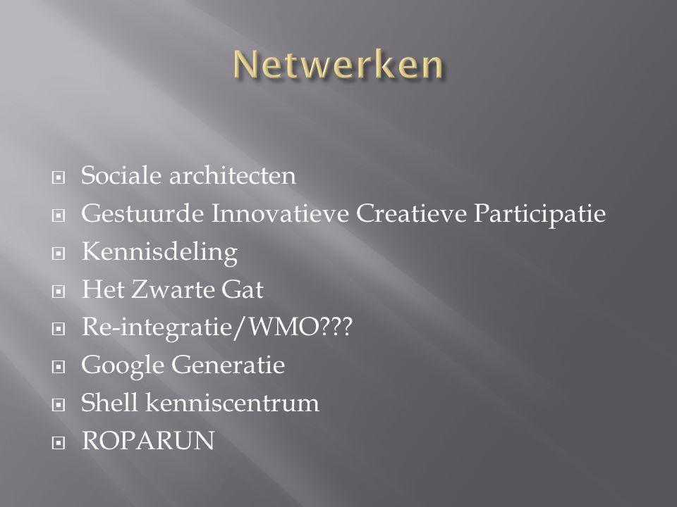  Sociale architecten  Gestuurde Innovatieve Creatieve Participatie  Kennisdeling  Het Zwarte Gat  Re-integratie/WMO .