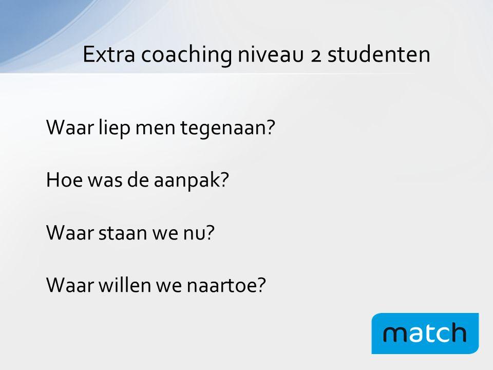 Extra coaching niveau 2 studenten Waar liep men tegenaan.