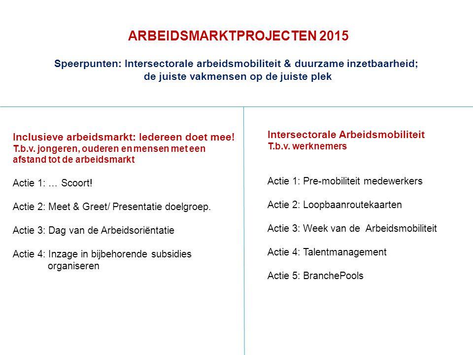 ARBEIDSMARKTPROJECTEN 2015 Inclusieve arbeidsmarkt: Iedereen doet mee.
