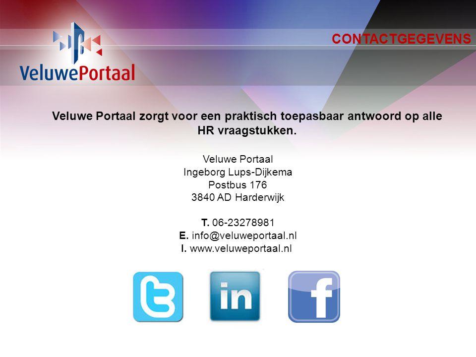 CONTACTGEGEVENS Veluwe Portaal Ingeborg Lups-Dijkema Postbus 176 3840 AD Harderwijk T.