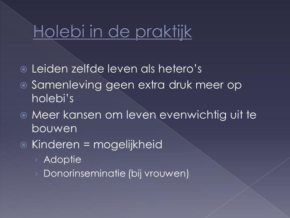  Leiden zelfde leven als hetero's  Samenleving geen extra druk meer op holebi's  Meer kansen om leven evenwichtig uit te bouwen  Kinderen = mogelijkheid › Adoptie › Donorinseminatie (bij vrouwen)