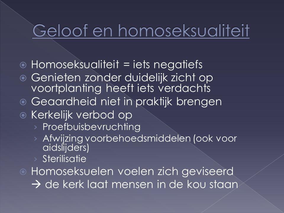  Homoseksualiteit = iets negatiefs  Genieten zonder duidelijk zicht op voortplanting heeft iets verdachts  Geaardheid niet in praktijk brengen  Kerkelijk verbod op › Proefbuisbevruchting › Afwijzing voorbehoedsmiddelen (ook voor aidslijders) › Sterilisatie  Homoseksuelen voelen zich geviseerd  de kerk laat mensen in de kou staan