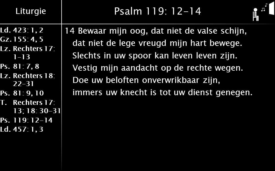 Liturgie Ld.423: 1, 2 Gz.155: 4, 5 Lz.Rechters 17: 1–13 Ps.81: 7, 8 Lz.Rechters 18: 22–31 Ps.81: 9, 10 T.Rechters 17: 13; 18: 30-31 Ps.119: 12-14 Ld.457: 1, 3 Psalm 119: 12-14 14Bewaar mijn oog, dat niet de valse schijn, dat niet de lege vreugd mijn hart bewege.
