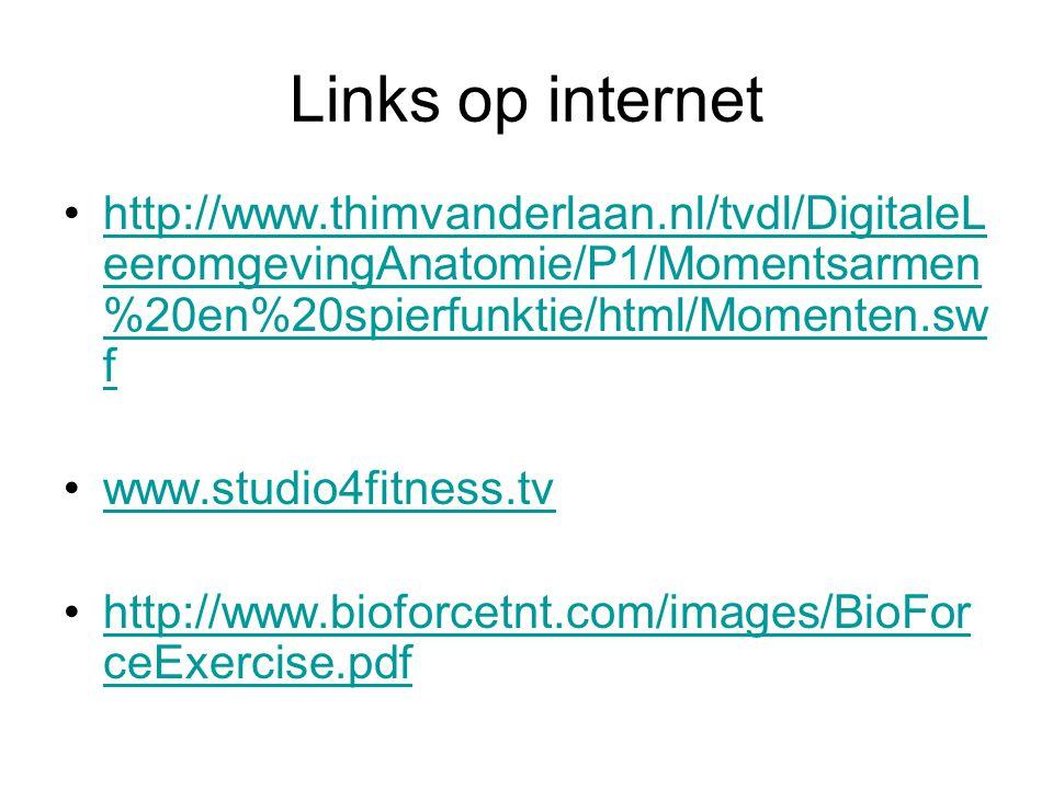Links op internet http://www.thimvanderlaan.nl/tvdl/DigitaleL eeromgevingAnatomie/P1/Momentsarmen %20en%20spierfunktie/html/Momenten.sw fhttp://www.th