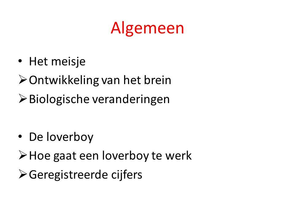 Algemeen Het meisje  Ontwikkeling van het brein  Biologische veranderingen De loverboy  Hoe gaat een loverboy te werk  Geregistreerde cijfers