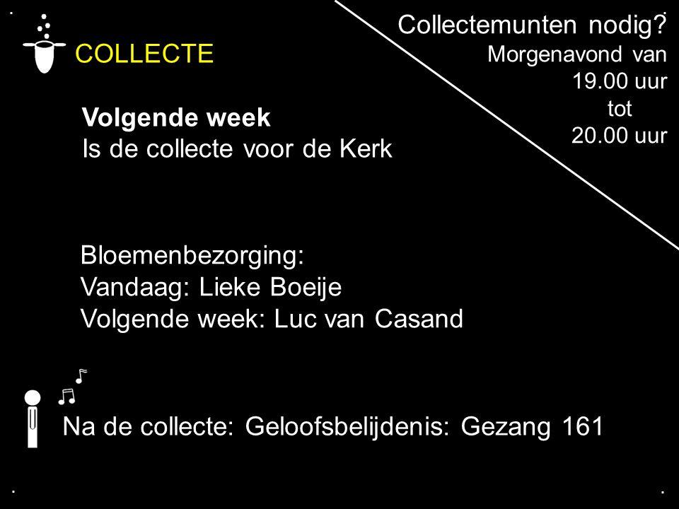 .... COLLECTE Volgende week Is de collecte voor de Kerk Bloemenbezorging: Vandaag: Lieke Boeije Volgende week: Luc van Casand Collectemunten nodig? Mo