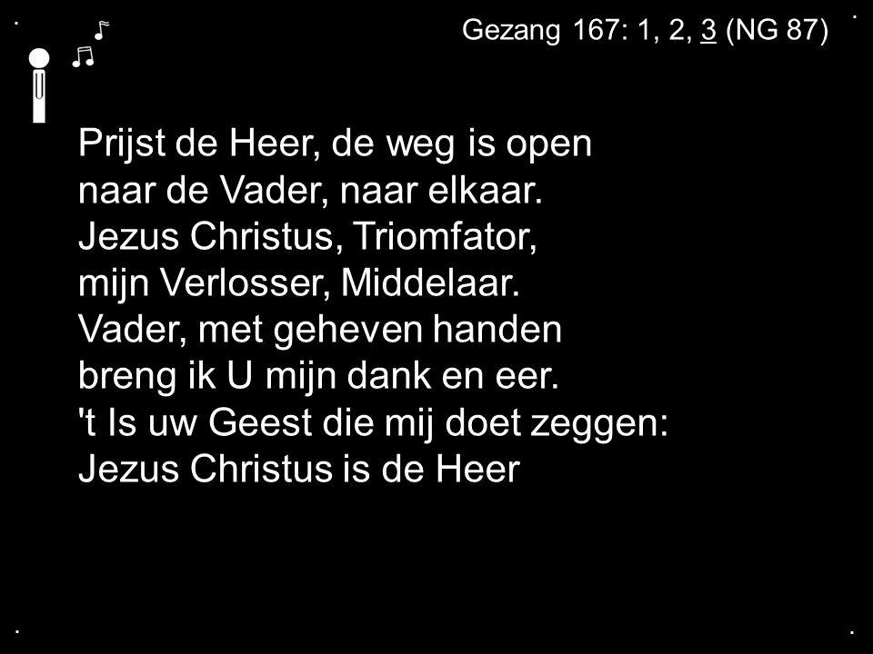 .... Prijst de Heer, de weg is open naar de Vader, naar elkaar. Jezus Christus, Triomfator, mijn Verlosser, Middelaar. Vader, met geheven handen breng