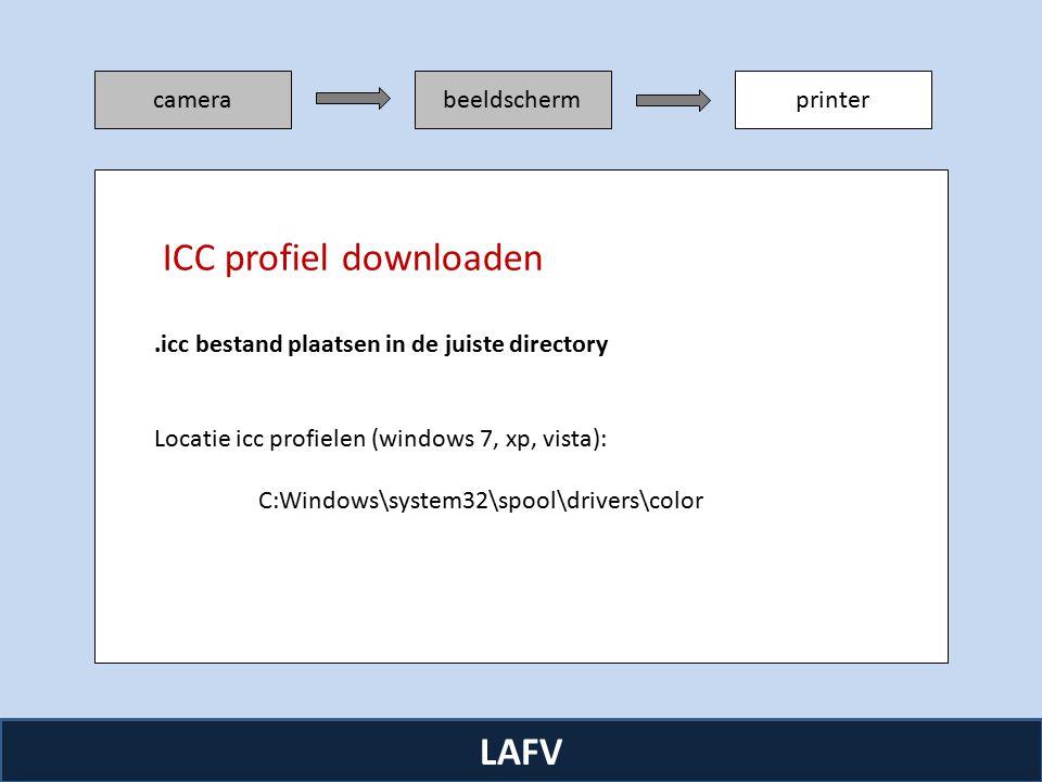 R camerabeeldschermprinter LAFV.icc bestand plaatsen in de juiste directory Locatie icc profielen (windows 7, xp, vista): C:Windows\system32\spool\drivers\color ICC profiel downloaden