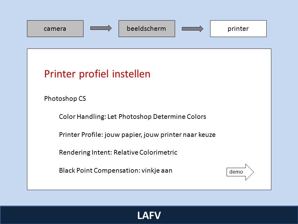 R camerabeeldschermprinter LAFV Photoshop CS Color Handling: Let Photoshop Determine Colors Printer Profile: jouw papier, jouw printer naar keuze Rendering Intent: Relative Colorimetric Black Point Compensation: vinkje aan Printer profiel instellen demo