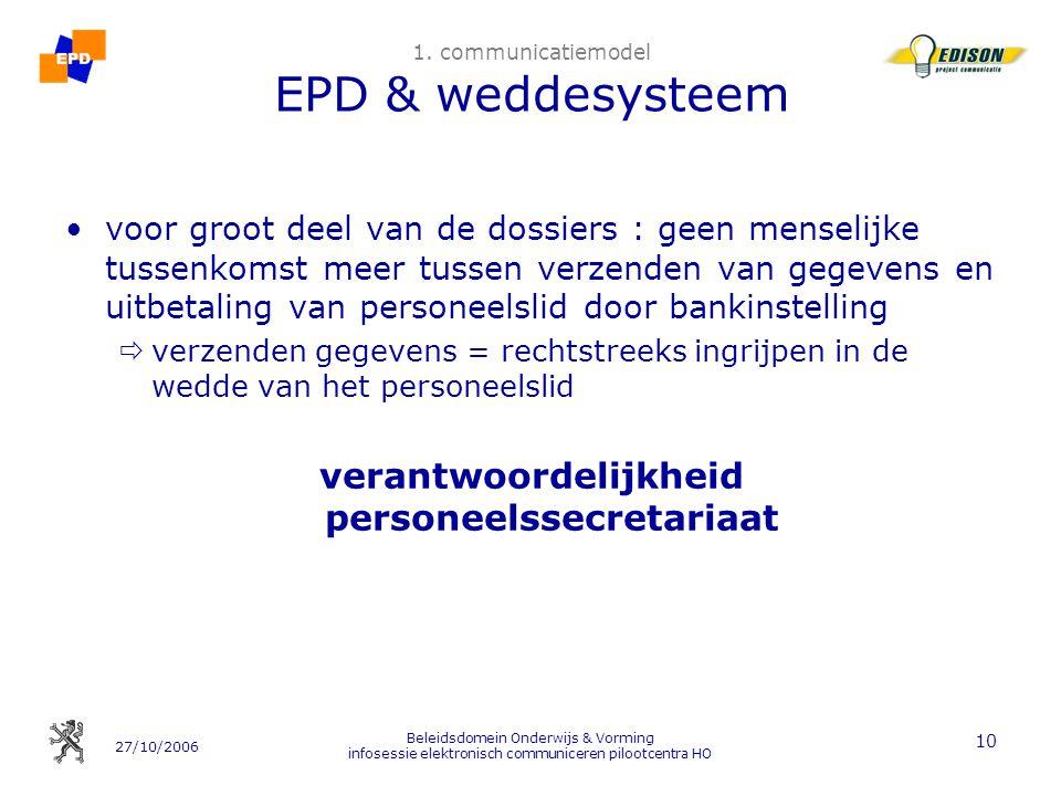 27/10/2006 Beleidsdomein Onderwijs & Vorming infosessie elektronisch communiceren pilootcentra HO 10 1. communicatiemodel EPD & weddesysteem voor groo